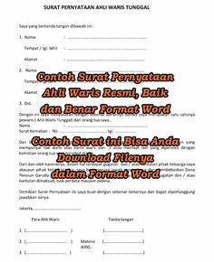 Contoh Surat Pernyataan Ahli Waris Resmi, Baik dan Benar Format Word