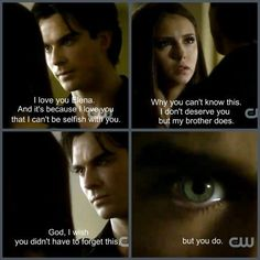 I pretty much want to be Elena Gilbert just so I can make the right choice for her. #TeamDamon