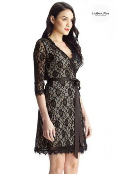Designer Style // What makes this stunning wrap style dress a must-have is that it features a surplice design, plunge neckline, apricot lining and black lace overlay, giving it a sexy vibe.