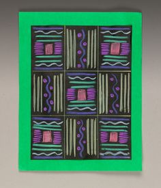 Study African weaving patterns and design orientations to create vibrant artwork with Crayola® Gel Markers on dark paper.