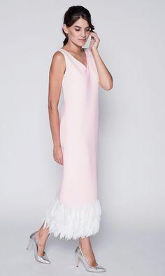Персиковое платье с лепестками