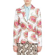 Altuzarra Fenice Floral Classic Blazer ($1,795) ❤ liked on Polyvore featuring outerwear, jackets, blazers, white, flower print jacket, altuzarra, floral jacket, white jacket and floral blazer jacket