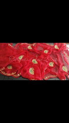 Pure Chiffon Saree with Danka Work by Threadsandblocks on Etsy Red Chiffon, Chiffon Saree, Embroidery Suits Design, Embroidery Designs, Multi Threading, Work Blouse, Saree Collection, Lehenga, Blouse Designs