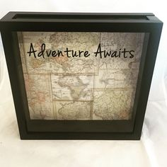 12x12 World Traveler Ticket Stub Holder, Keepsake, or Souvenir Shadow Box for Road Trips, Vacations, etc. (World Maps with Adventure Awaits) by ReminisceInStyle on Etsy https://www.etsy.com/listing/463809190/12x12-world-traveler-ticket-stub-holder