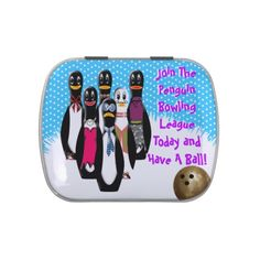 Penguin Bowling League (Personalized) - Candy Tin - IconDoIt's quirky, original penguin characters are lined up and ready, waiting for you to pick up the golden ball and join them in their favorite game of bowling! Ideal party favor or stocking stuffer. Caption is customizable. Penguin Party Invitations @ www.zazzle.com/icondoit+penguin+gifts?rf=238155573613991097&tc=pnt #funnystockingstuffer #penguinparty #christmasanimal