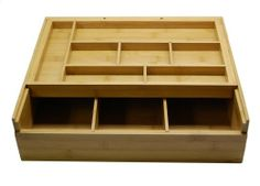 Amazon.com - Lipper International Bamboo Adjustable Drawer Organizer with Top Sliding Tray _NOT available- but what a great idea for those deep drawers!