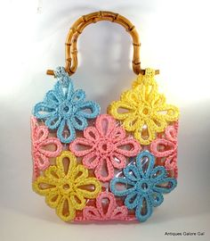 Vintage Walborg Summer Purse Pink Blue Yellow by AntiquesGaloreGal, $24.00
