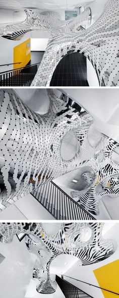MARC FORNES / THEVERYMANY have created two architectural installations, Under Stress and Sous Tension, in the public areas of The French Institute for Research in Computer Science and Automation (INRIA), located in Rennes, France.