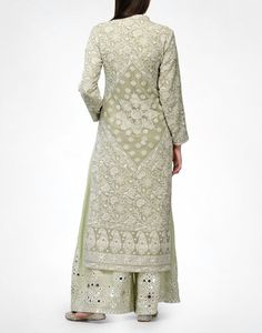 Check out our Sage Chikankari Kurta & Pyjama by ANJUL BHANDARI available at Ogaan Online store at special price. Fine Awadhi hand-embroidered Chikankari in a sage green Pakistani Dresses, Indian Dresses, Indian Outfits, Ethnic Outfits, Trendy Outfits, Indian Attire, Indian Ethnic Wear, India Fashion, Asian Fashion