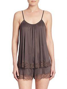 Josie Natori Glam Knit Short Pajamas In Ash Lingerie Fine, Pretty Lingerie, Lingerie Set, Sleepwear & Loungewear, Lingerie Sleepwear, Nightwear, Knit Shorts, Pajama Shorts, Lace Outfit