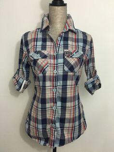 SUPERDRY Lumberjack Plaid Check Button Up Shirt L Hobo Navy Blue Gray 3/4 Sleeve #Superdry #ButtonDownShirt #Casual
