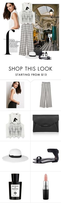 """""""French Connection"""" by katiethomas-2 ❤ liked on Polyvore featuring French Connection, Forever 21, OTTE, Givenchy, Iris & Ink, 3.1 Phillip Lim, Acqua di Parma and MAC Cosmetics"""