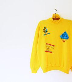 80s Vintage Sweatshirt in Mustard Yellow / Soft Slouchy Novelty Sweatshirt / Unisex Vintage Sporty Sweatshirt