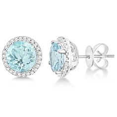 Ladies 7mm Round Aquamarine and Diamond Halo Stud Earrings in Polished Sterling Silver 2.66ct Allurez http://www.amazon.com/dp/B00LPTAD4S/ref=cm_sw_r_pi_dp_mTT4tb1GW5B21