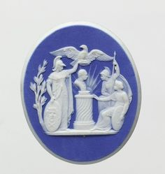 The Wedgwood Museum − Collections Cameo commemorating the Coronation of Leopold II as Holy Roman Emperor. Mars is depicted as presenting a Crown to the Genius of Germany to be placed upon the bust of Leopold which stands on an altar.