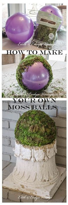 How to make your own moss covered balls! http://edithandevelynvintage.com/2015/05/18/moss-balls-and-a-bedroom-update/: