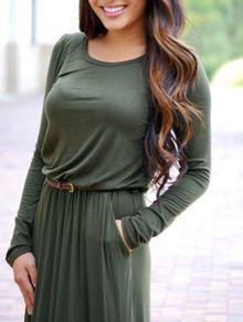 e712efb6fa Long Sleeve Pockets Maxi Dress EmmaCloth-Women Fast Fashion Online