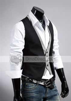 POP HOMME®  Cool Layered Look Slim Fit Plaid Single Breasted Cotton Men Vest