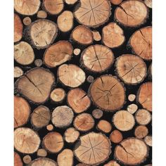 Natural 97710 Rustic Stacked Wood Logs Holden Decor Wallpaper by... (73 RON) ❤ liked on Polyvore featuring home, home decor, wallpaper, rustic home decor, wood home decor, wooden home accessories, log wallpaper and wooden wallpaper