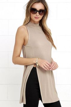 New Fashion Womens Sleeveless Turtleneck Solid Long T- shirts Summer Top&Tee Sleeveless Casual And Sexy Split T-Shirt