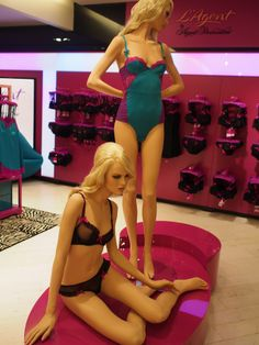 Visual merchandising lingerie agent provocateur I love lingerie on realistic mannequins instead of dress forms.