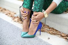 printed pants with color block shoes.