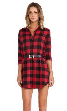 BB Dakota Suzett Buffalo Plaid Dress in Red, $79