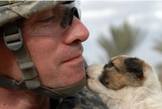Soldiers and their best friends, puppy edition.