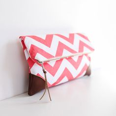 The Sydney Clutch in Coral Chevron by BrighterDay on Etsy, $40.00