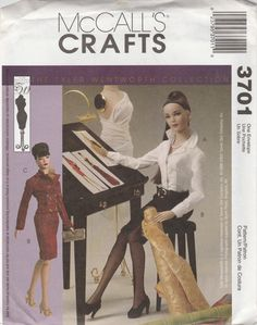 McCall's Crafts 3701 The Tyler Wentworth Collection Barbie Doll Clothes Sewing…