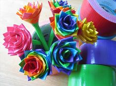 home produced duct tape pen flowers