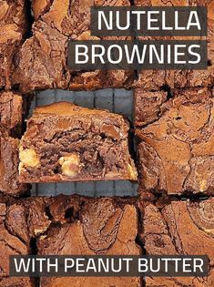 These are my super fudgy, chewy, and sinfully easy peanut butter brownies. No need for box recipes when you can make homemade ones from scratch so easily! Love me or hate me - I have even added nutella for good measure! Rich Chocolate Brownies Recipe, Brownie Recipe With Cocoa, Boxed Brownie Recipes, Best Brownie Recipe, Nutella Brownies, Best Brownies, Nutella Recipes, Peanut Butter Bites, Peanut Butter Brownies