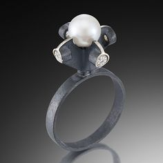 "Pearl Ring"" Silver & Pearl Ring Created by Samantha Freeman"