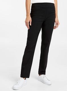 Le pantalon taille bandeau cheville   Contemporaine   Magasinez des Pantalons Ajustés et Skinny pour Femme   Simons Jeggings, Bandeau, Mannequin, Nylons, Skinny, Suits, Fashion, Trousers, Body Con