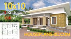 Simple House Design Plans with 3 Bedrooms Full Plans - House Plans Simple House Plans, My House Plans, Simple House Design, Village House Design, Bungalow House Design, Tiny House Design, Home Building Design, Home Design Plans, Flat Roof House