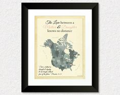 Gift for Mom, Long Distance Gift, Birthday Present for Mother, Mother and Daughter Quote, Going Away Gift Idea, North America Map PrintKeepsake, Map, Home Decor by #KeepsakeMaps on Etsy