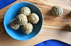 vanilla peanut butter protein balls. Good! I used almond butter instead of peanut butter and chia seeds instead of sesame seeds and 1/8 teaspoon sea salt. Made 8 bars.