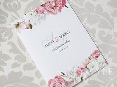 Karty menu z motywem piwonii różowych i białych