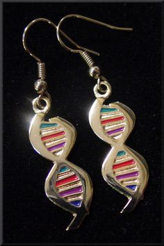 DNA Earrings and Necklace Gold and Silver
