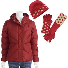 Winter Essentials: Faded Glory Women's Hooded Puffer Jacket and Polka Dot Hat and Gloves Set
