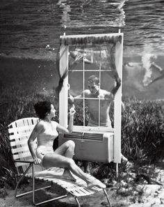 Vintage Underwater Pinups photos by Bruce Mozert  To promote Silver Springs, Florida's crystal clear waters, Bruce Mozert took a series of creative underwater photos in 1938, depicting scenes of leisure one can partake in with no oxygen required.