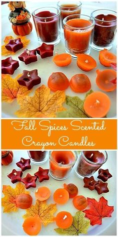 Homemade fall spices scented crayon candles.. The process is fun for the kids and elicits so many questions- good way to show change of matter to older kids. Make it a science activity for older kids. #fall