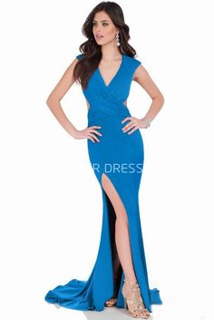 $143.79-Sexy Sheath V-Neck Ruched Jersey Blue Evening Gown with Slit. http://www.ucenterdress.com/sheath-v-neck-ruched-cap-sleeve-jersey-prom-dress-pMK_302107.html.  Shop for affordable evening gowns, prom dresses, white dresses, party dresses for women, little black dresses, long dresses, casual dresses, designer dresses, occasion dresses, formal gowns, cocktail dresses . We have great 2016 Evening Gowns on sale now. #evening #gowns