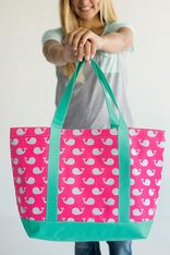 """Matching our aqua and pink duffel bag, accessory bag  this tote  is perfect to add to your collection. Beautiful in color perfect for your kids favorite accessories to take on their next trip, or even for you moms. Great to use as a diaper bag, purse, backpack for your kids and many other purposes.  Additional Details:      21"""" L x 7"""" W x 14"""" H     Polyester     Inside Zipper Pocket"""