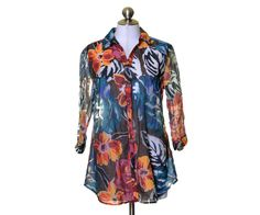 Erin London Bright Floral Sheer Multi Color 3/4 Sleeve Blouse Long Tunic Size S #ErinLondon #Blouse #Casual