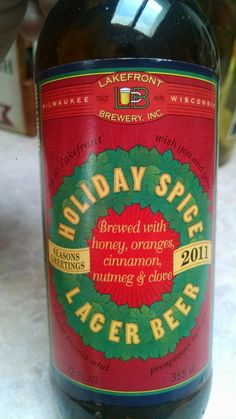 HOLIDAY SPICE Lager beer 2011 by Lakefront Brewery Inc Milwaukee Wisconsin.  From Lakefront seasons greetings wishing you and yours  with this honey, oranges, cinnamon, nutmeg, & cloves a truly joyous and prosperous new year.  It just doesn't work in my collection but a beautiful message wishing you that I couldn't have said better myself, or wait, or so did I? Either way enjoy a tasty like this holiday special.