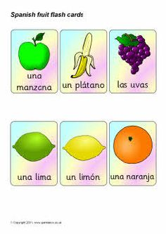 Spanish fruit flash cards (SB4286) - SparkleBox