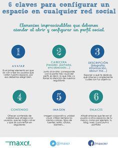 #Infografia #RedesSociales 6 claves para configurar un espacio en cualquier red social. #TAVnews