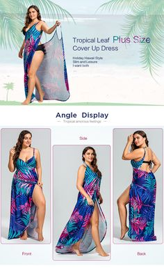 Tropical Leaf Print Plus Size Cover Up Maxi Dress Swimsuit Cover Up Dress, Swimwear Cover Ups, Plus Size Cover Up, Plus Size Summer Dresses, How To Wear Scarves, Plus Size Swimwear, Fashion Sewing, Beach Dresses, Diy Clothes