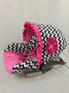 Black and White Chevron with Hot Pink Minky Center and hot pink accents Infant Car Seat Cover with Matching Neck Strap Set on Etsy, $94.00
